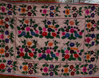 "Gorgeous Floral hand embroidered Floral Suzani Uzbekistan. 8 ft  x 5 ft 4""  240 x 163 cm. Throw/Wall hanging/Bed cover."