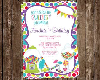 Candy, Birthday Invitations, Girls, Pink, Dots, Sweet Candy, Bubble Gum, Party, Set of 10 Printed Cards with Envelopes, FREE Shipping, SWTCY