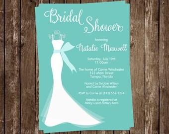 Bridal Shower Invitations, Wedding Gown, Aqua, Teal Blue, White, Dress, Gray, Set of 10 Printed Cards, FREE Ship, ELGTF, Elegant Turquoise