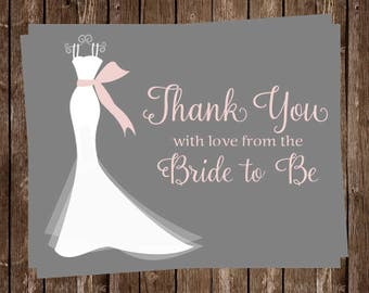 Bridal Shower Thank You Cards, Wedding Dress, Pink, Gray, White, Gown, Set of 24 Printed Cards, FREE Shipping, ELGPK, Elegant Gown Pink