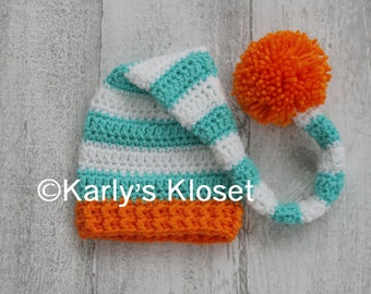 Newborn Elf Hat, Turquoise & Orange Stripes, Baby Photo Props, Long Tail Elf Hat, Baby Boy Hat, Newborn Photo Props, Ready to Ship