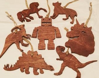 Mini ornaments, dinosaur, robot, horse
