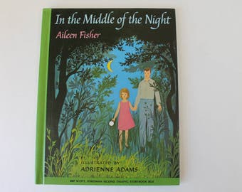 Vintage Children's Book In The Middle Of The Night by Aileen Fisher HC NDJ Color & BW Illustrations 1965