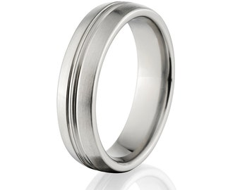Brilliant 6mm Titanium Ring, New Custom Wedding Band: 6HRCP-B