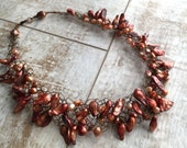 Copper Freshwater Pearl Necklace, Wire Crochet Necklace, Copper Necklace, Statement Necklace, Gift