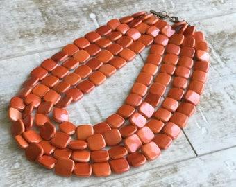 Orange Chunky Necklace, Multi Strand Necklace, Orange Chunky Necklace, Statement Necklace, ACRYLIC Necklace