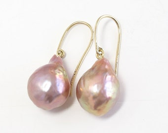 Pink Baroque Fresh Water Pearl Earrings 18k