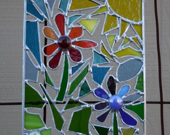 Stained Glass Panel abstract with Flowers-Handmade-Window Decor-Unique Gift Ideas-Birthday-Wedding Gift-House Warming-Suncatcher-Glass Art