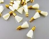 4 pcs ivory & gold, 18mm tiny tassel charms, off white ivory jewelry / craft tassels 2049G-IV