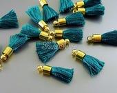 4 dark emerald green 18mm short tassels, ideal for making tassel earrings, tassel necklace 2049G-EM