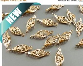 15% SALE 4 small twisted 12mm leaf connectors, leaf charms, rose gold twisted leaf filigree pendants 1757-MRG-12