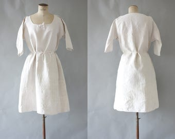 AJ dress | White linen peasent dress | 1900 by cubevintage | large