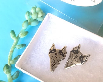 Boston Terrier Earrings - Ice Cream Pup (earstuds)