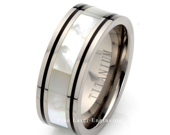 Titanium Wedding Band, Ivory Pearl inlay, 9mm wedding band, Mens Wedding Band, Pearl Ring, Titanium Ring, Women's titanium band