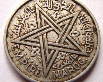 ISLAMIC Mohammed V Morocco issue 2 franc aluminum coin with a 5-pointed star Coin
