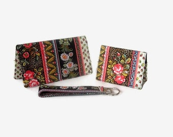 Checkbook Cover, Credit Card / Business Card Holder, Key Fob - Purse Accessory Set - Black Print 3 Piece Set - Mini Wallet