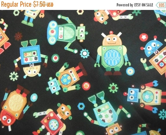 Robots robots and more robots quilting fabricslast by for Robot quilt fabric
