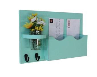 Mail Holder - Double Slots - Key Hooks - Jar Vase - Organizer - Painted Distressed Wood