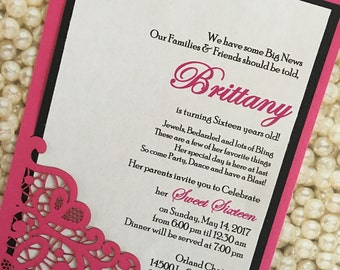 Lace Sweet Sixteen 16 Invitation Hot Pink Black White Bat Mitzvah Invitation Quincenera Invitations