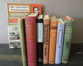 Book Collection Lincoln Instant Library - Vintage Book Stack - Books on Abraham Lincoln - Books For Decor