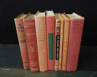 Coral Red Books By Color - Decorative Old Books - Books for Decor - Rustic Worn Instant Library