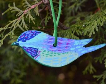 """Painted Wooden Bird Ornament """"Chickadee"""""""