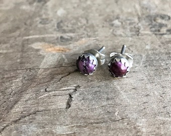Purple Stud Earrings Sterling Silver Purple Oyster Gemstone Stud Earrings || Sterling purple spiny oyster Studs ||