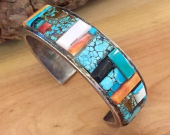 Scorpio Birthday SALE Beautiful Native American Sterling Silver Coral Onyx Turquoise Vintage Cuff Bracelet Singed