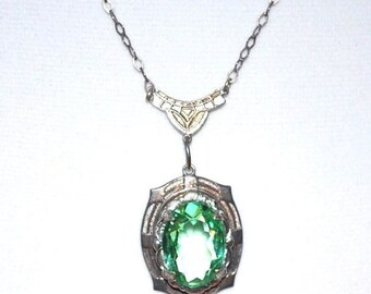 Holiday Christmas SALE 1920s French Art Deco Sterling Silver Open Back Faceted Green Crystal Vintage Necklace