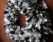 Large Fabric Scrap Wreath in Black, White, and Grey