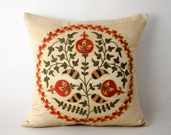 16x16 Gorgeous fully handmade silk embroidery suzani pillow cover, pomegranate motif, boho chick, ethnic pillow, cover, cushion case
