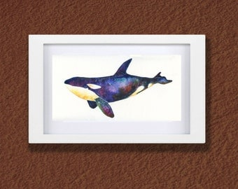 Original Watercolor Killer Whale - My Daily Whale - Watercolor Whales