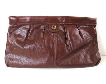 Vintage Raisin Leather Double B Clutch