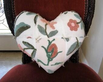 "Handmade Valentine Patchwork Heart Pillow - Botanical Cabin Crafts Needletuft Vintage Chenille 14"" x 14"""