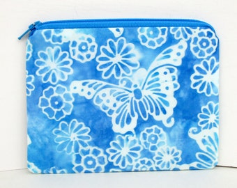 Coin Purse Butterfly Garden Batik Bag, Blue Small Zipper Pouch