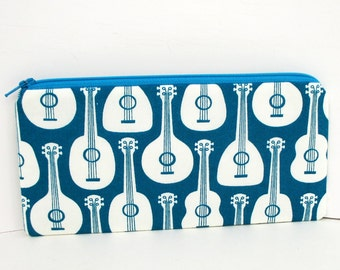 Ipanema Ukes, Zippered Pencil Pouch, Teal Ukuleles, Zipper Bag