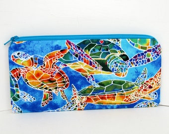 Zippered Pencil Pouch, Calypso Sea Turtles, Blue Zipper Bag
