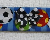 "CUSTOM for CHERYLLSU - Soccer Balls Dog Scrunchie Collar with black and white dotted bow - Size S: 12"" to 14"" neck"