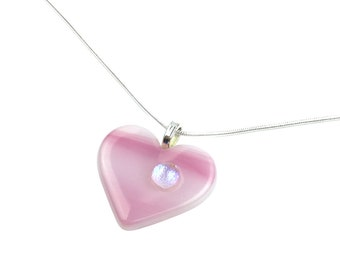 Pendant Necklace, Pink Heart, Stained Glass