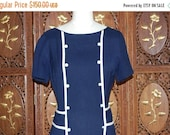 ON SALE Vintage 1950s Navy and White Trim Rayon Dress