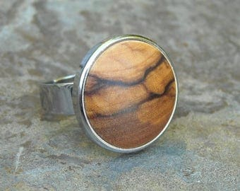 Ring olive wood stainless steel adjustable cabochon wooden