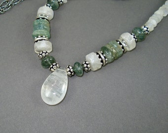 Moss Aquamarine and Moonstone Necklace with Blue Green Aquamarine, Rainbow Moonstone and Antiqued Sterling Silver