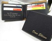 Personalized Wallet Leather Bi-Fold Wallet Engraved Groomsman Wallet Groomsmen Gift Custom Wedding Party Gift Message Inside Black