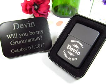 Custom Groomsmen Proposal Gifts, Flip Top Lighter with Gift Tin, Will You Be My Groomsman, Groomsmen Invitation, Groom Thank You Gifts
