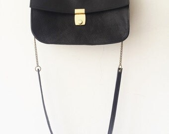 SALE Black leather handbag ,Cross body bag,Evening bag