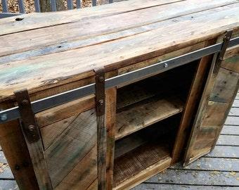 Rustic Console with Sliding Barn Doors-Custom