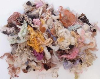 bag of mix fiber Teeswater, wensleydale, BFL wool fleece locks pink, brown shades for spinning and felt fiber, waldorf crafts, 200 gr