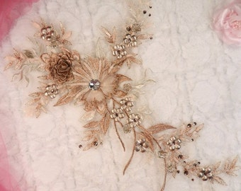 """Embroidered 3D Applique Rose Gold Champagne Floral Ballet Sequin Patch Rhinestone Center 14"""" (DH70-rsgl)"""