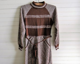 Girls Vintage Sweater Dress, 1980s Brown Sweater Dress, Brown Stripe Dress Size 8-10 1980s Dress, Brown Sweater Dress, 1980s Girls Clothing