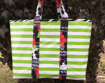 Yipes stripes funky oilcloth tote bag in spring green and white